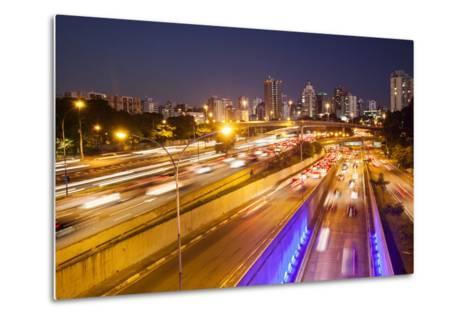 Busy Highway Traffic at Dusk in Sao Paulo, Brazil-Alex Saberi-Metal Print