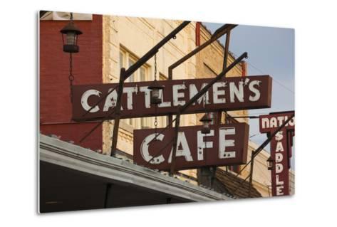 Cattlemen's Cafe Restaurant Sign, Oklahoma City, Oklahoma, USA-Walter Bibikow-Metal Print