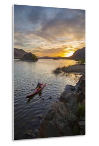 Sea Kayaker Paddling at Sunrise, Alkili Lake, Washington, USA-Gary Luhm-Metal Print