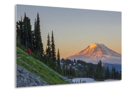 Man on Trail, Mt Adams Back, Goat Rocks Wilderness, Washington, USA-Gary Luhm-Metal Print