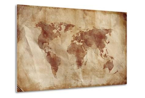 Aged World Map on Dirty Paper--Metal Print