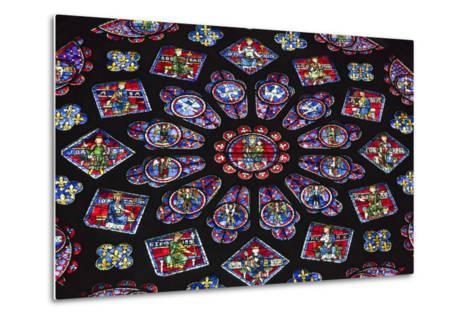 Chartres Cathedral, Stained Glass, Chartres, Eure Et Loir, France-Walter Bibikow-Metal Print