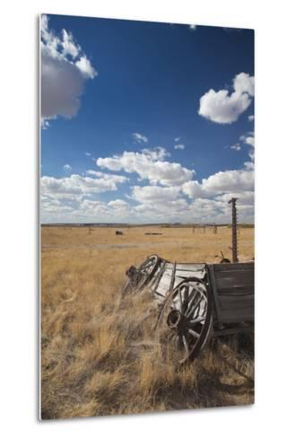 Old Wagon, Prairie Homestead, Cactus Flat, South Dakota, USA-Walter Bibikow-Metal Print