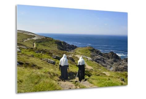 Two Nuns Walking on a Beach in Ireland-Chris Hill-Metal Print