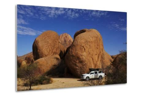 4X4 and Campsite Beside Giant Boulders at Spitzkoppe, Namibia-David Wall-Metal Print
