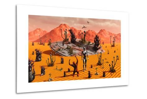 The First Man, Adam, Greeting an Alien Robotic Eve--Metal Print