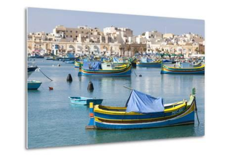 Luzzu Fishing Boats on the Harbor of Marsaxlokk, Malta-Martin Zwick-Metal Print