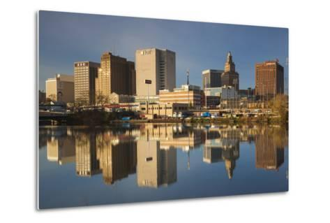 USA, New Jersey, Newark, City Skyline from Passaic River, Morning-Walter Bibikow-Metal Print