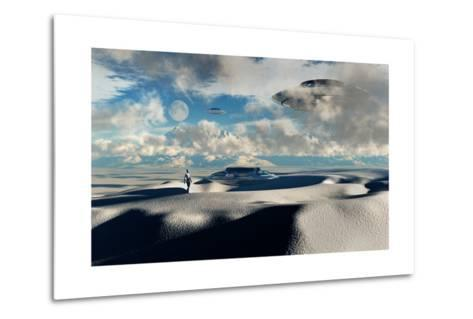 Alien Base with Ufos Located in the Antarctic--Metal Print