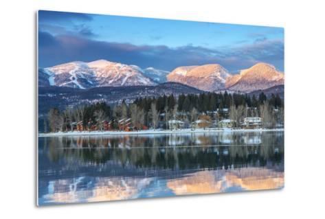 Big Mountain Reflects in Whitefish Lake, Whitefish, Montana, Usa-Chuck Haney-Metal Print