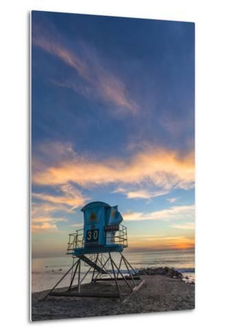 Lifeguard Stand at Sunset in Carlsbad, Ca-Andrew Shoemaker-Metal Print