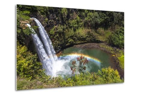 Wailua Falls and Scenery on the Hawaiian Island of Kauai-Andrew Shoemaker-Metal Print