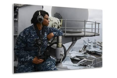 Seaman Observes Flight Operations Aboard USS Ronald Reagan--Metal Print