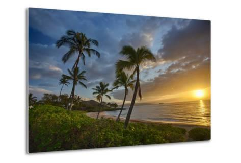 Sunset on Southern Maui Beach with Palm Trees-Terry Eggers-Metal Print