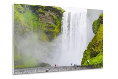 Iceland. South. Skogafoss. Hikers are Skogafoss Waterfall-Inger Hogstrom-Metal Print