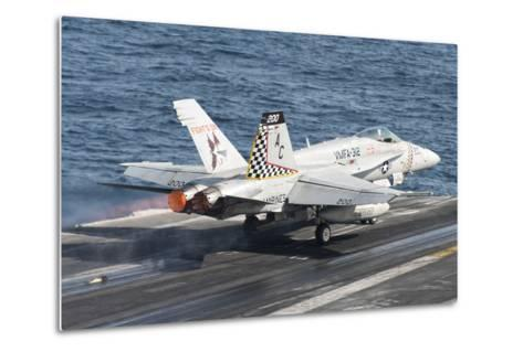An F-A-18C Hornet Launches from USS Harry S. Truman--Metal Print