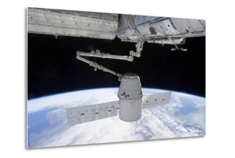 Spacex Dragon During its Docking with the International Space Station--Metal Print