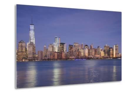 USA, New York, New York City, Lower Manhattan and Freedom Tower, Dusk-Walter Bibikow-Metal Print