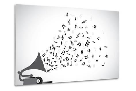 Gramophone Silhouette Playing Slow Soothing Music and Different Notes Flowing out of the Speaker-Harisha-Metal Print