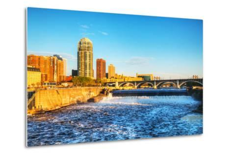 Downtown Minneapolis, Minnesota at Night Time and Saint Anthony Falls-photo.ua-Metal Print