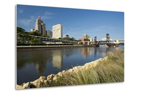 Railroad Track and Robert Street Bridge from Raspberry Island. Downtown Saint Paul, Minnesota-PhotoImages-Metal Print