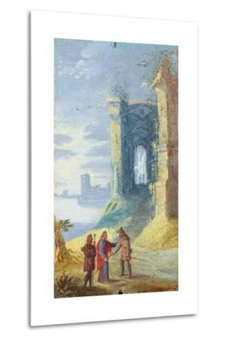 Lake Landscape with Christ Between the Two Disciples of Emmaus--Metal Print