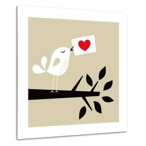 Bird Love Card- vector-RGB-Metal Print