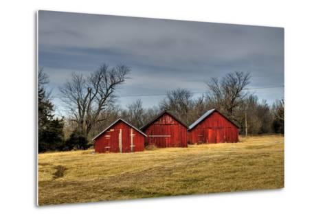 Three Barns, Kansas, USA-Michael Scheufler-Metal Print