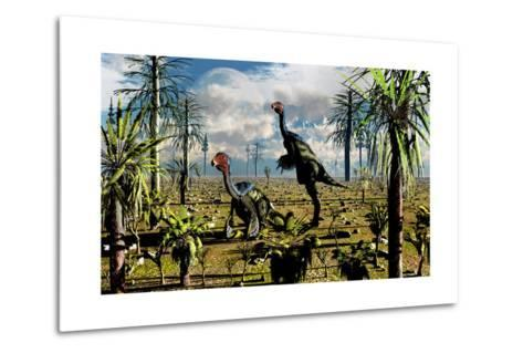 A Pair of Omnivorous Caudipteryx Feathered Dinosaurs--Metal Print