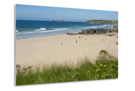 From the Cliffs at Gwithian Looking Towards Godrevy Lighthouse-Alex Treadway-Metal Print