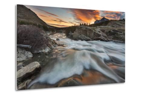 Sunrise Clouds over Swiftcurrent Falls, Glacier NP, Montana, USA-Chuck Haney-Metal Print