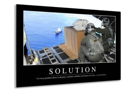 Solution: Inspirational Quote and Motivational Poster--Metal Print
