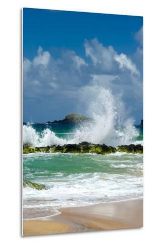 Waves Breaking on the Rocks at Kauapea Beach, Kauai, Hawaii, USA-Richard Duval-Metal Print