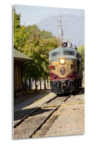 Napa Valley Wine Train in Train Station, California, USA-Cindy Miller Hopkins-Metal Print