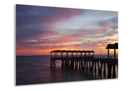 Fishing Pier at Sunset, Jekyll Island, Georgia, USA-Joanne Wells-Metal Print