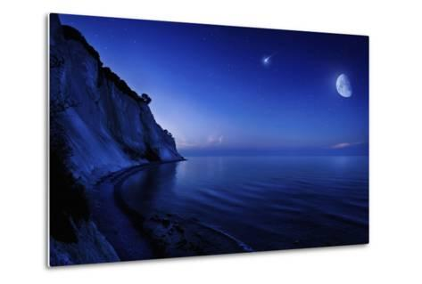 Moon Rising over Tranquil Sea and Mons Klint Cliffs, Denmark--Metal Print
