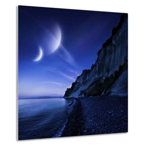 Two Planets Hover over a Tranquil Sea and Mons Klint Cliffs, Denmark--Metal Print