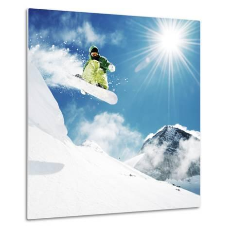 Snowboarder At Jump Inhigh Mountains At Sunny Day-dellm60-Metal Print