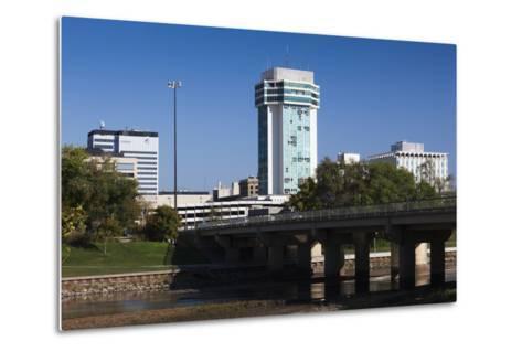 Skyline by the Arkansas River, Wichita, Kansas, USA-Walter Bibikow-Metal Print