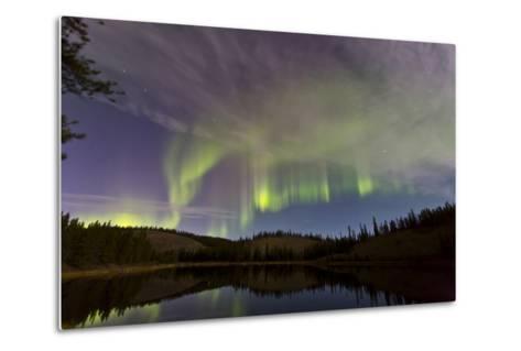 Aurora Borealis over Hidden Lake, Yukon, Canada--Metal Print