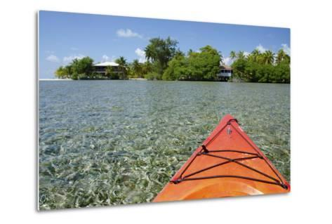 Kayaking in the Shallow Water, Southwater Cay, Stann Creek, Belize-Cindy Miller Hopkins-Metal Print