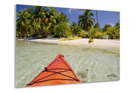 Kayaking in Clear Waters, Southwater Cay, Belize-Cindy Miller Hopkins-Metal Print