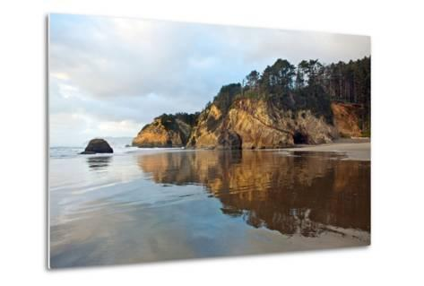 The Wet Sand on a Beach at Oregon's Hug Point-Vickie Lewis-Metal Print