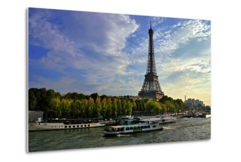 A Scenic View of the Eiffel Tower and a Ferry in the Seine River-Babak Tafreshi-Metal Print