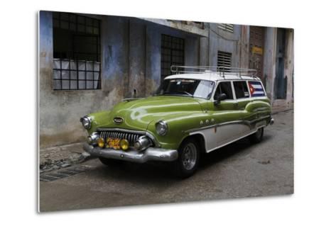 1950's Era Antique Car and Street Scene from Old Havana, Havana, Cuba-Adam Jones-Metal Print
