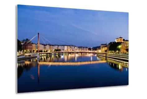 Palais Du Justice Footbridge Reflecting on the Saone-Massimo Borchi-Metal Print