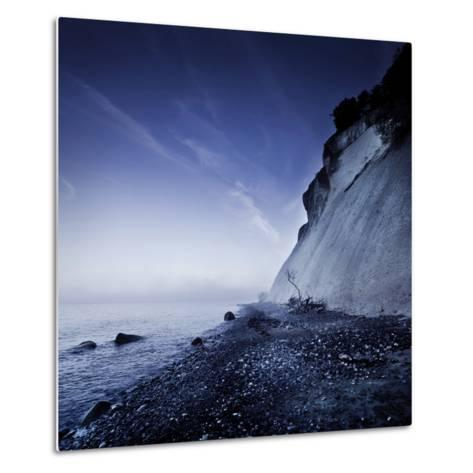 Seaside and Chalk Mountain in the Evening, Mons Klint Cliffs, Denmark--Metal Print