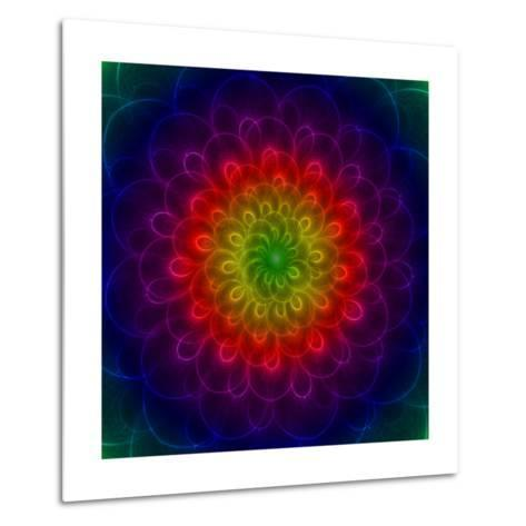 Colorful Peacoke Feather Flower- sgame-Metal Print