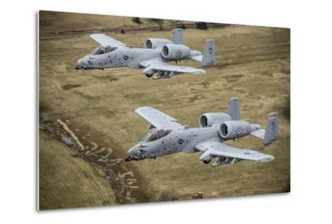 Two A-10 Thunderbolt Ii's Conduct a Training Mission over Arkansas--Metal Print