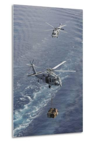 Two Mh-60S Sea Hawk Helicopters Transport Supplies--Metal Print